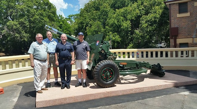 The 25-pounder Howitzer back in its rightful place at the front of the Ipswich Soldiers Memorial Hall.