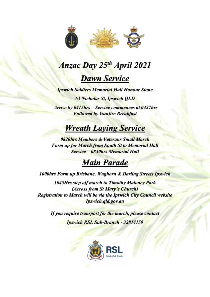 2021 Anzac Day Flyer