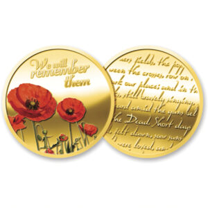 BN14617 - Gold Plated Poppy Medallion In Gift Box