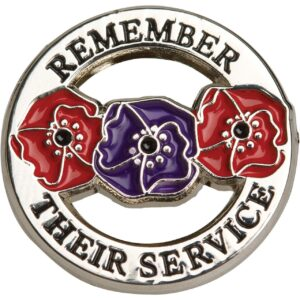 BN55606 - Remember Their Service Red & Purple Poppy Lapel Pin