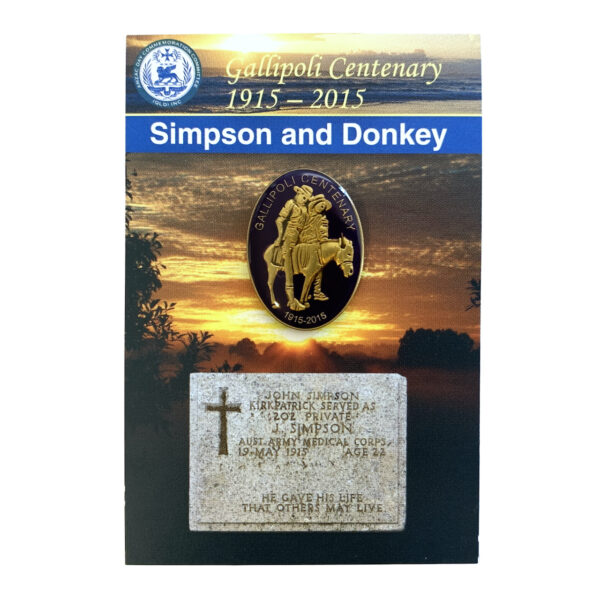 Gallipoli Centenary Simpson And Donkey Badge